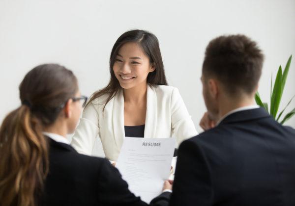 woman interviewing job applicant