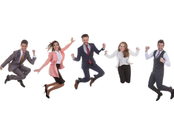 business people jumping together