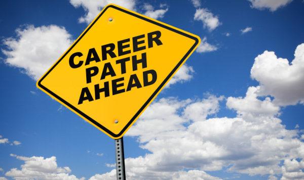 career path ahead road sign