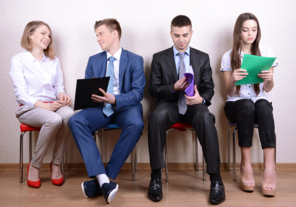 young job applicants waiting for interviews